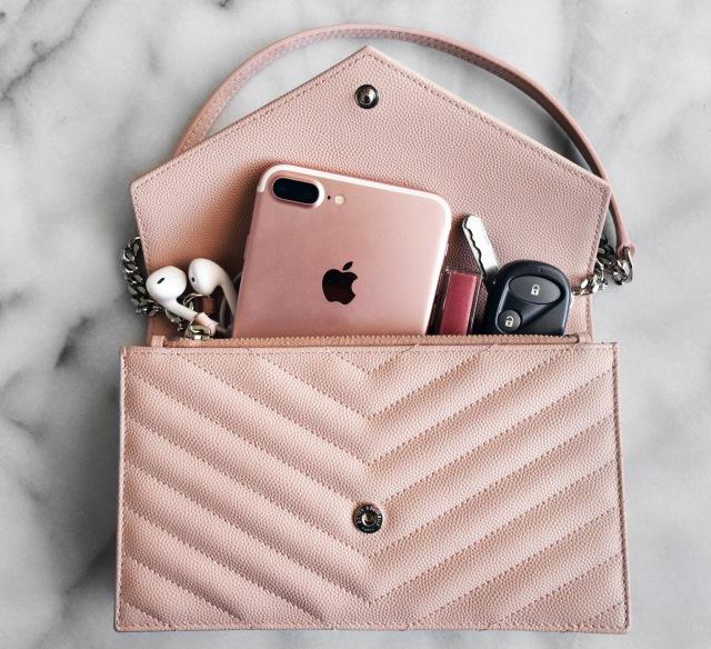 What fits inside my Saint Laurent Light Pink Monogram Envelope WOC bag