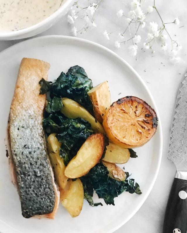 Recipe for Salmon, Kale, and Roasted mini potatoes