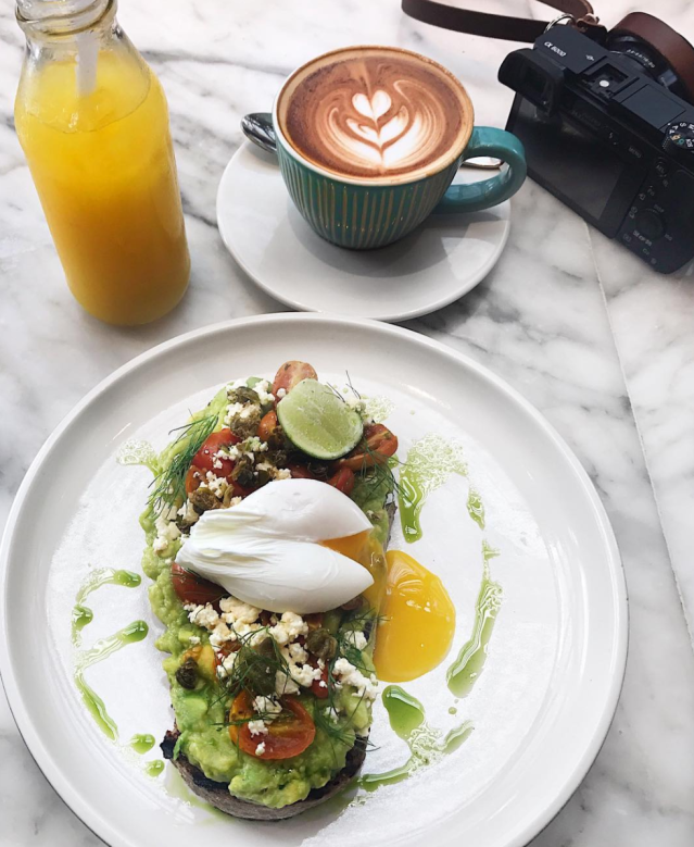 Avocado Toast and Latte at Sisterfields in Seminyak, Bali