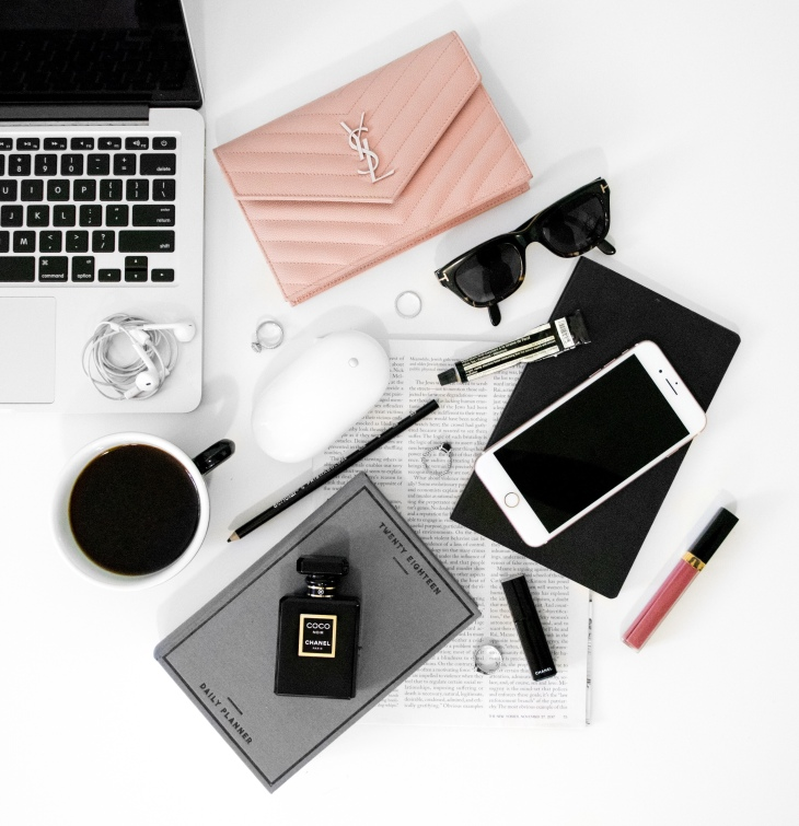 Luxury Lifestyle Desk Flat lay Photography