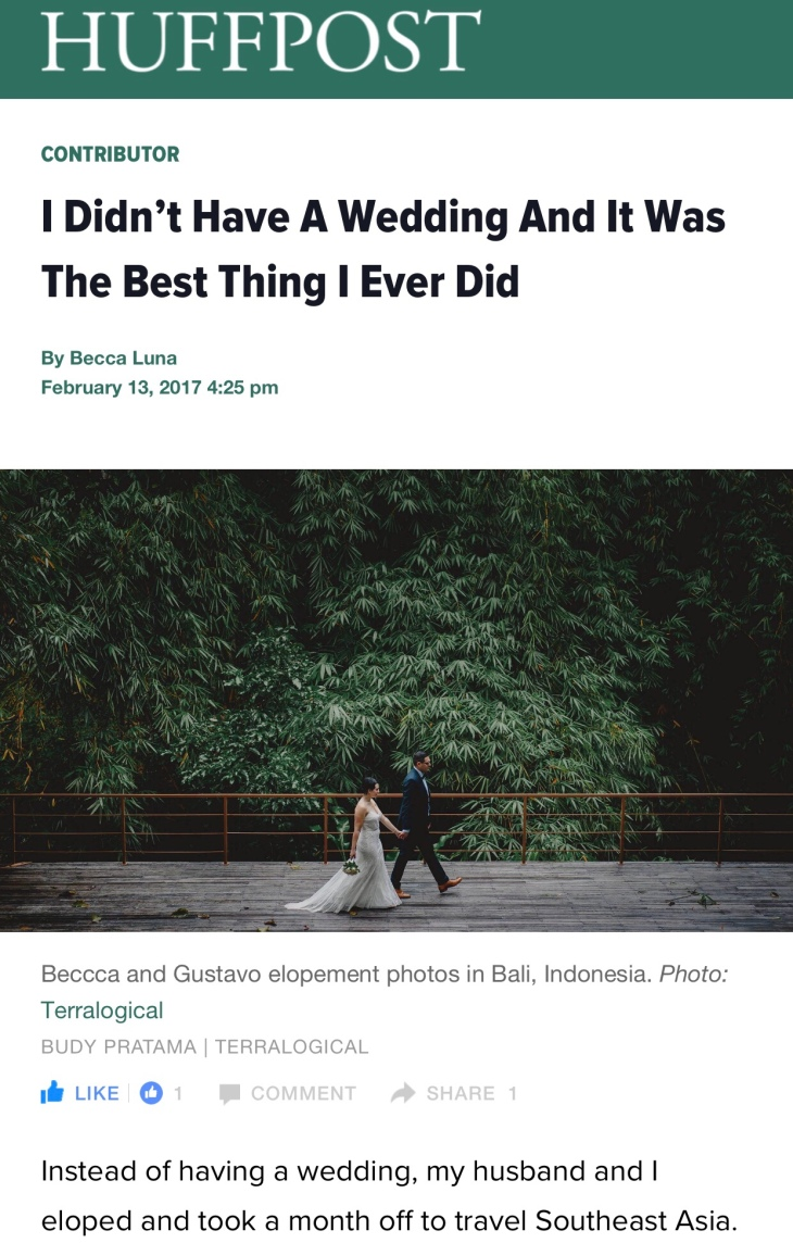 Huffington Post Contributor Becca Risa Luna | I didn't have a wedding and it was the best thing I ever did