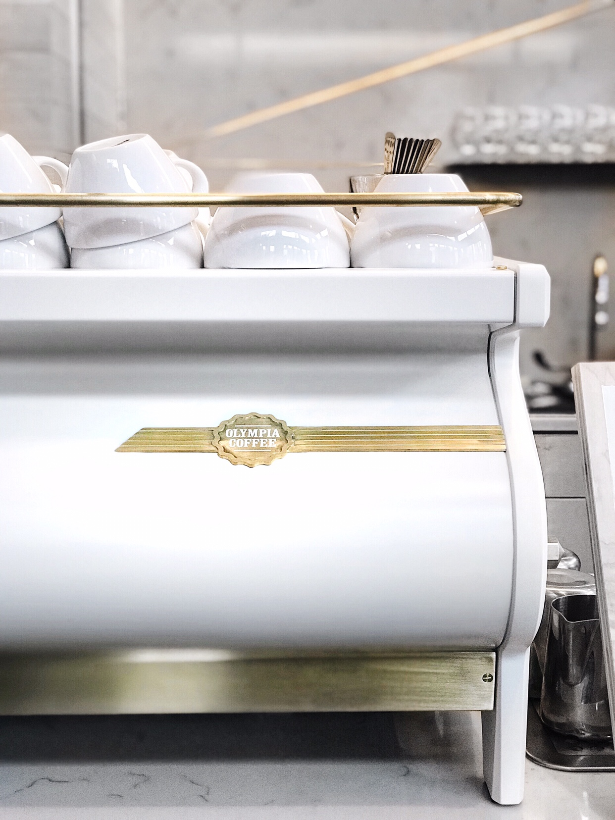 Custom white/gold La Marzocco Strada AV espresso machine designed by Pantechnicon Design | beccarisaluna.com