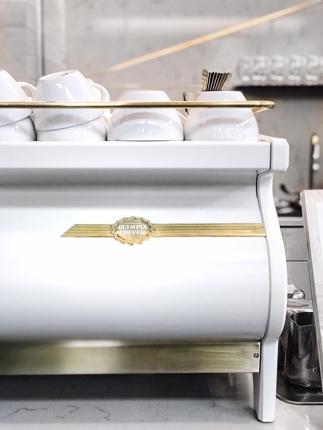Custom white/gold La Marzocco Strada AV espresso machine designed by Pantechnicon Design | beccarisaluna.com