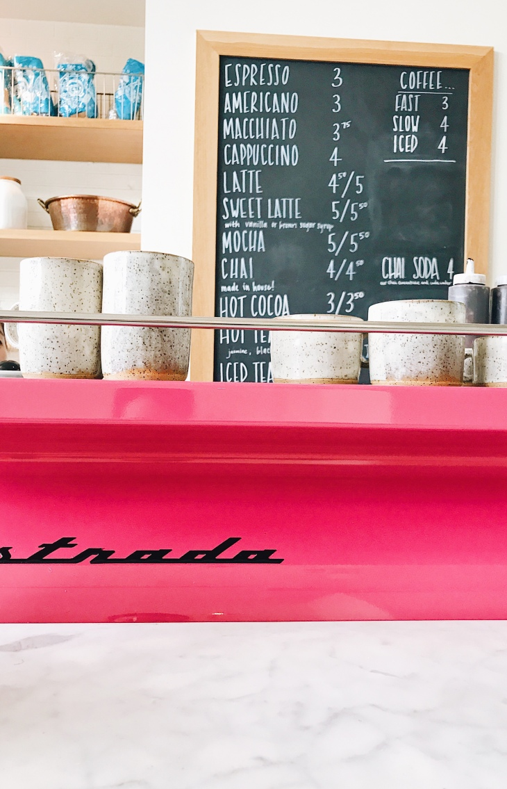 Custom hot pink La Marzocco espresso machine at General Porpoise | photo by Becca Risa Luna
