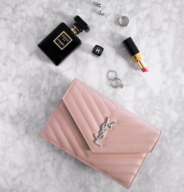 Date night! YSL pink WOC clutch flat lay | BeccaRisaLuna.com