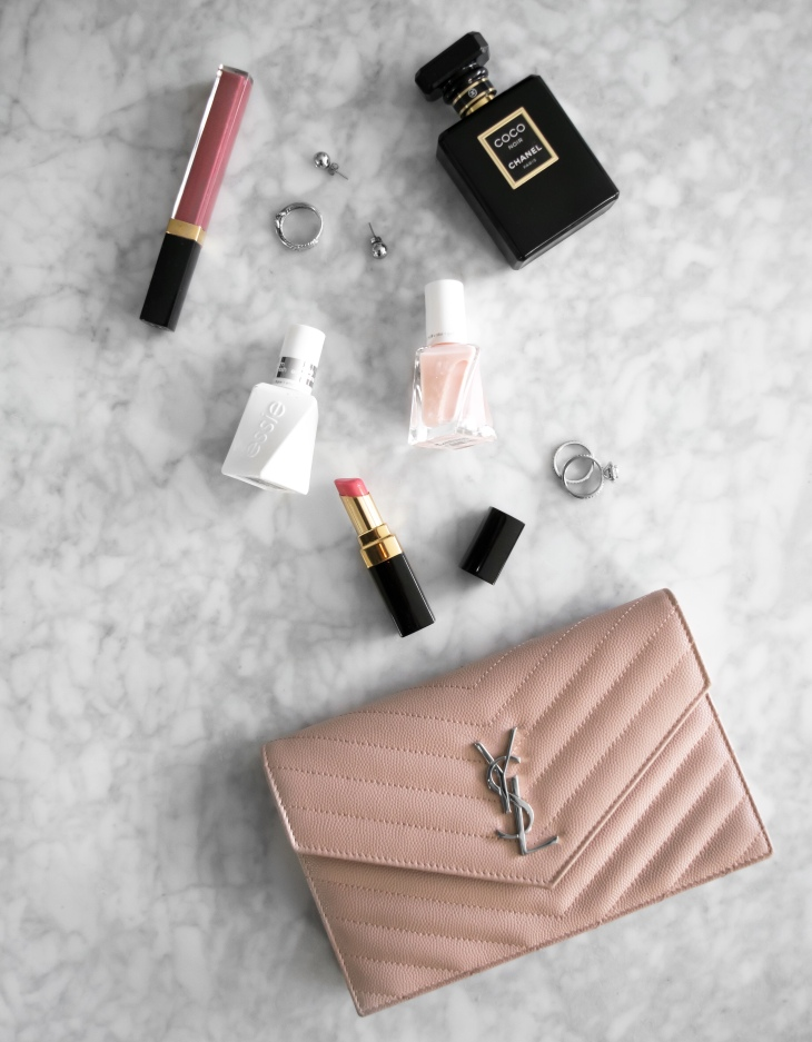 Date night fashion flat lay! YSL pink WOC and Chanel Coco Noir perfume | BeccaRisaLuna.com