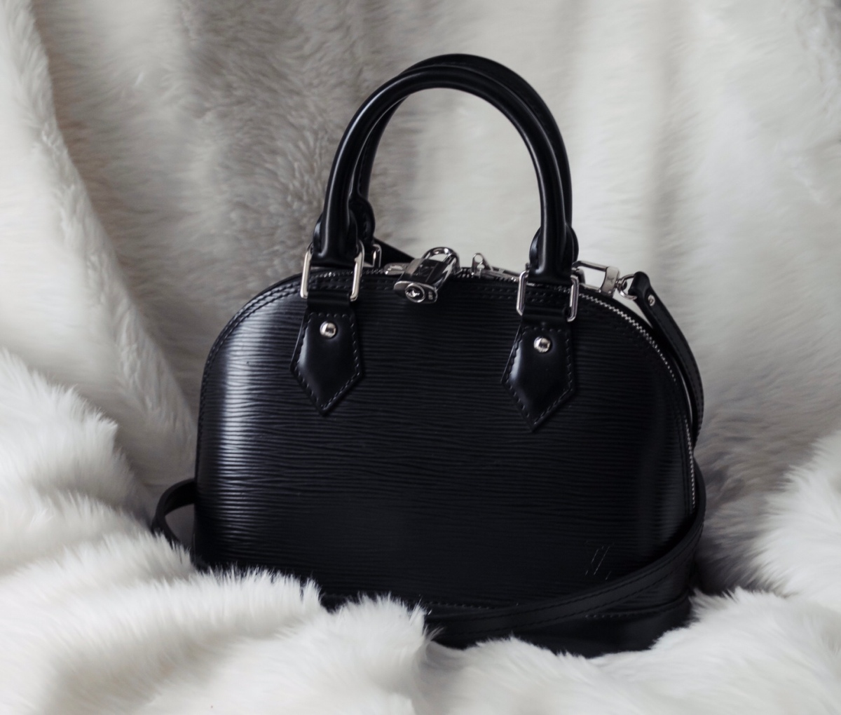 17a4463280d4 Bag Review  Louis Vuitton Black Epi Alma BB – Becca Risa Luna