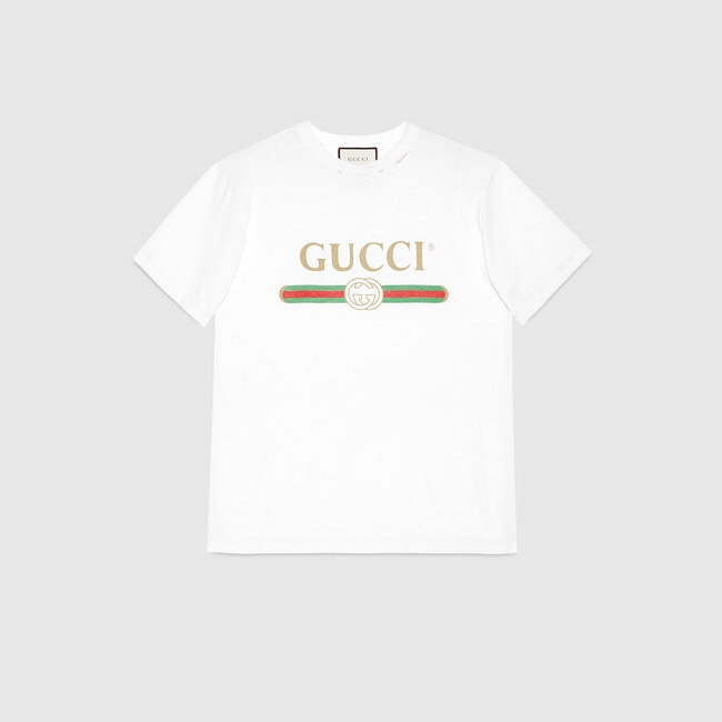 Gucci Distressed Printed Cotton T-Shirt | Gucci.com
