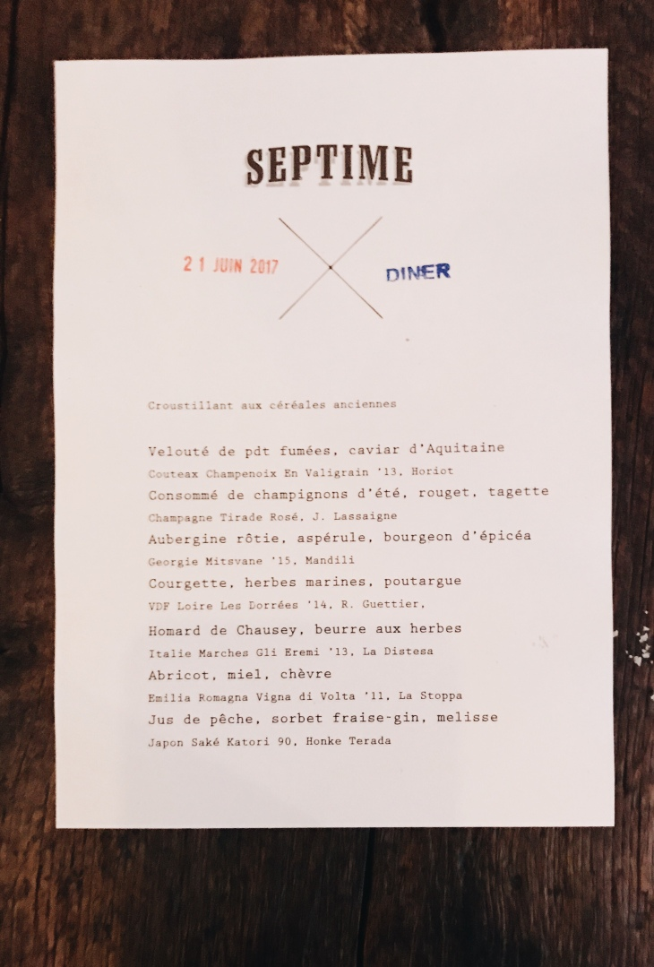 Septime restaurant menu | June 2017