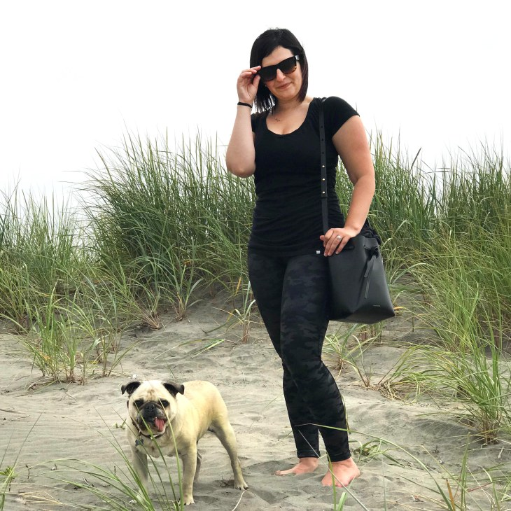 Girl and pug dog in the sand