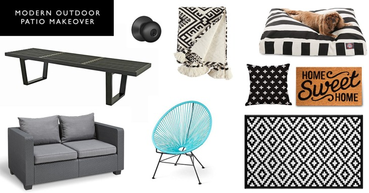 Modern Outdoor Patio Makeover Black and White Geometric