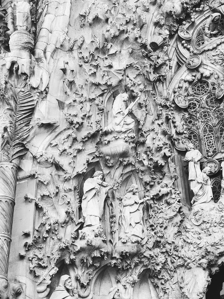 La Sagrada Familia carved details (Barcelona, Spain)