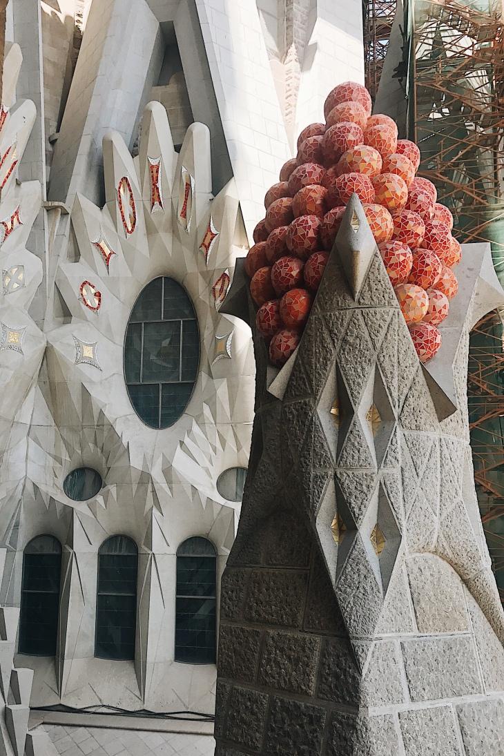 Detail of the carving work at La Sagrada Familia