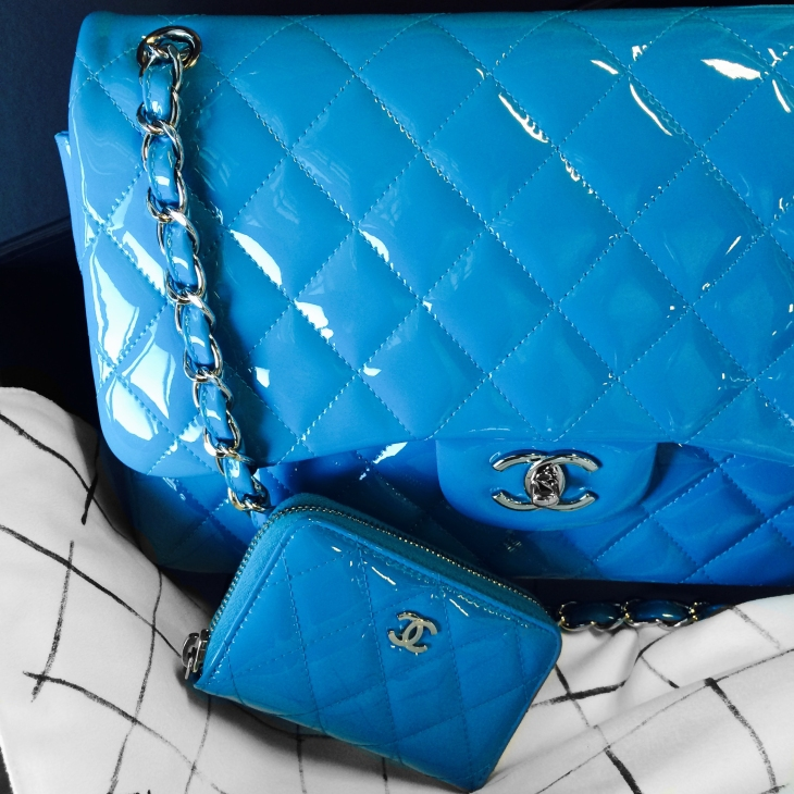 Chanel Blue Patent Leather Classic Flap Bag