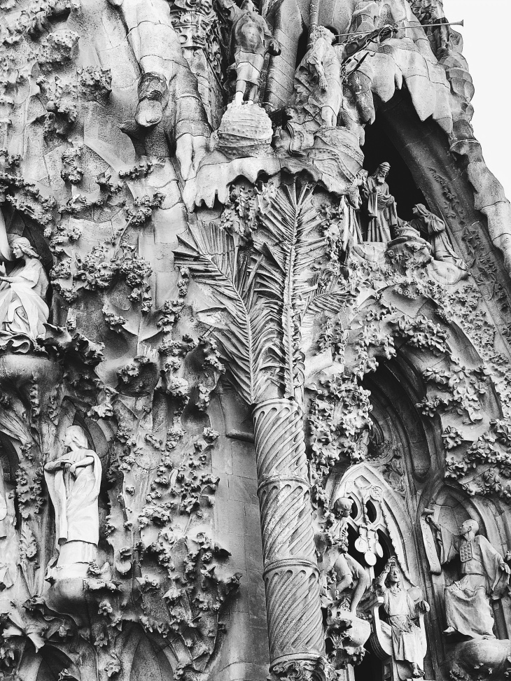 La Sagrada Familia carved details (Barcelona, Spain)