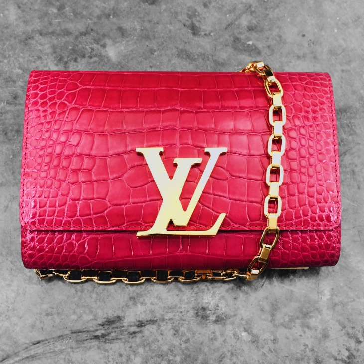Louis Vuitton Pink Alligator Chain Louise Clutch Bag