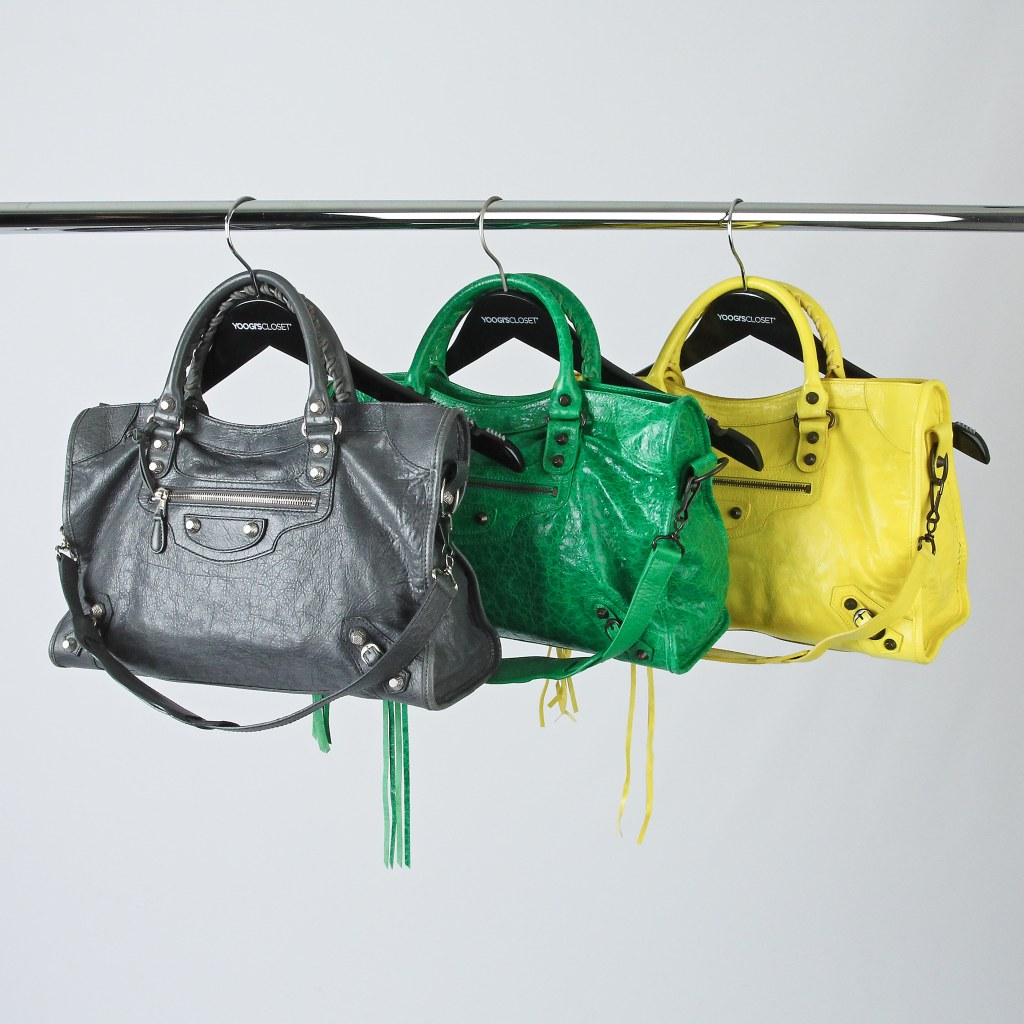 Balenciaga Bags on Black Retail Hangers