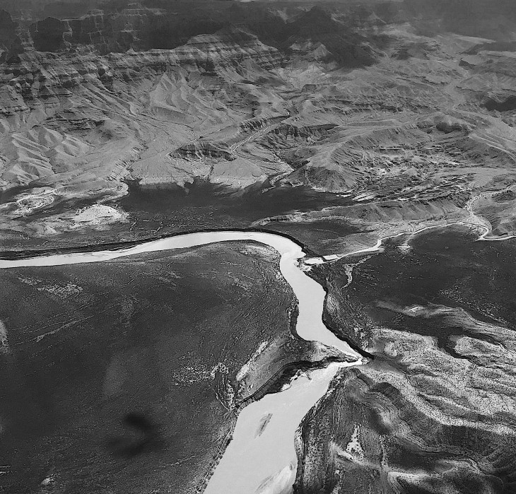 Colorado River From Above The Grand Canyon | Black and White | Photo by Becca Risa Luna