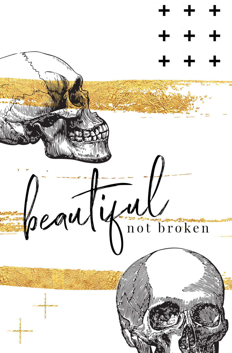 black and gold skull broken not beautiful quote iPhone background