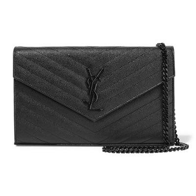 Yves Saint Laurent Black on Black Monogram Chevron Wallet on Chain